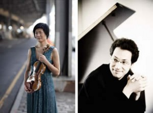 Violinist Jennifer Koh (left) and pianist Shai Wosner