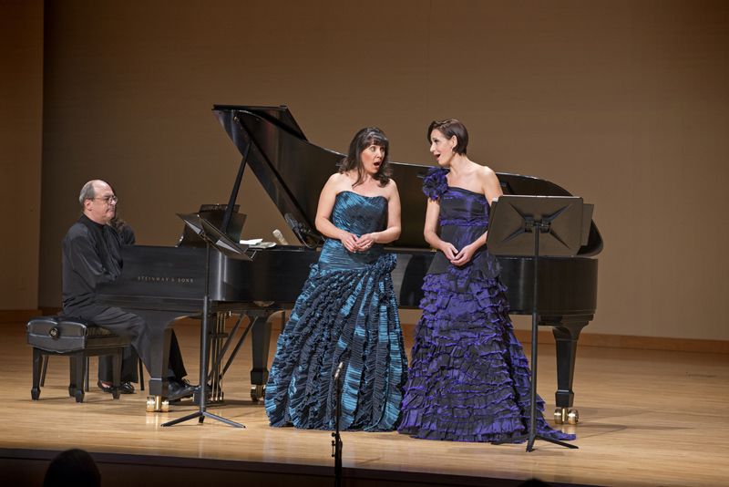 l-r: Robert Spano at the piano with Jessica Rivera and Kelley O'Connor at KSU's Bailey Center on Thursday