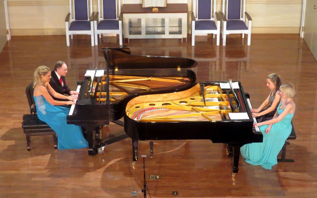 Julie Coucheron, William Ransom, Elana Cholakova and Elizabeth Pridgen perform Mozart's Overture to Don Giovanni, transcribed for two pianos, eight hands. (all photos: Mark Gresham)