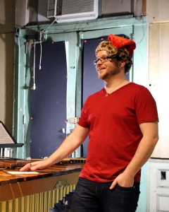 Composer Cody Brookshire in festive seasonal attire.