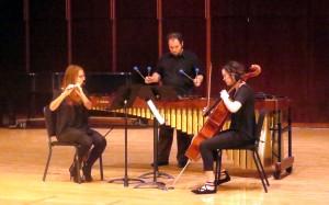 "Members of Terminus Ensemble perform Curtis Bryant's ""Trio"" for flute, cello and marimba."