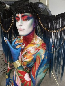 Completed full body paint with headdress created by artist Stephanie Anderson and assistant Ryan Straut. (Model: Diego Serna. Photo credit: Ryan Straut.)