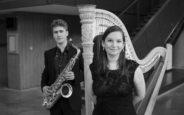 Admiral Launch Duo: saxophonist Jonathan Hulting-Cohen and harpist Jennifer R. Ellis