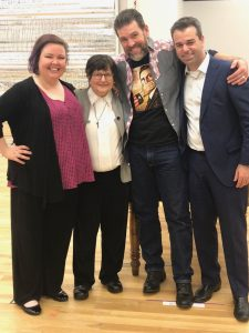 Sister Helen Prejean, econd from left, with cast members Jamie Barton and Michael Mayes, and director Tomer Zvulun. (credit: Lauren Bailey)