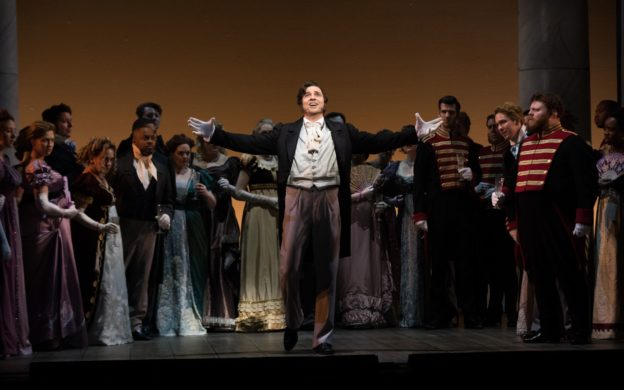 David Adam Moore taks center stage as Eugene Onegin in a new production by The Atlanta Opera. (photo: Jeff Roffman)