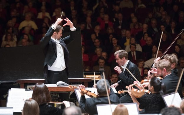 ASO assistant conductor Stephen Mulligan and pianist Nikolai Lugansky in Thursday's performance of Rachmaninoff's Piano Concerto No. 3 by the Atlanta Symphony Orchestra.