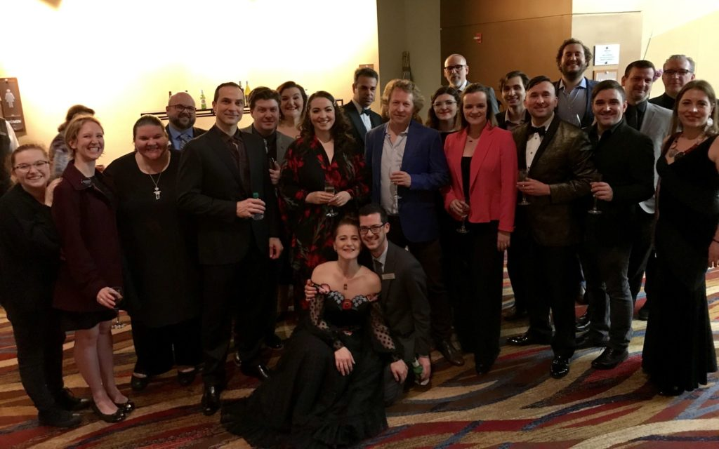 The cast and creative The cast and creative of Eugene Onegin gathered  in the Cobb Energy Centre's Intermezzo Room after the show to celebrate their successful opening night. (photo courtesy of The Atlanta Opera)of Eugene Onegin gathered after the show, celebrating ia successful opening night in the Cobb Energy Centre's Intermezzo room. (photo courtesy of The Atlanta opera)