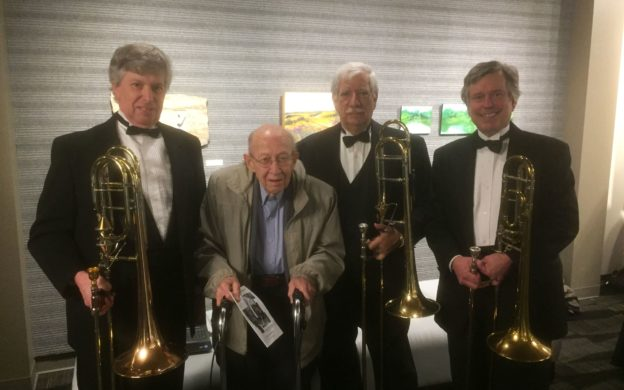 At;lanta composer Charkles Knox (2nd from left) itb former music theory students Richard Rogers, Michael Wilson, Bob Scarr -- all trobonists with the DeKalb Symphony Orchstra. (courtesy of Rogers Digital Recording)