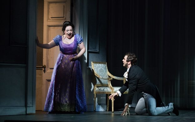 González and Moore as Tatyana and Onegin in the heated finale to Act III of Tchaikovsky's Eugene Onegin. (photo: Jeff Roffman)