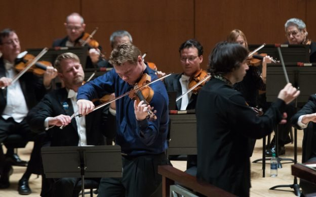 David Coucheron solos in the Violin Concerto of Julius Conus. (credit: Jeff Roffmasn)