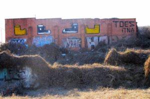 "Street art by Harrison Keys that inspired ""Toes."" (photo: Michael Kurth)"