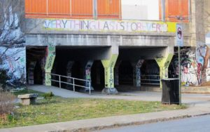 """The banner on the Krog Street Bridge that inspired the title, """"Everything lasts Forever."""" (photo: Michael Kurth)"""