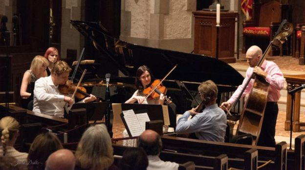 "Pianist Elizabeth Pridgen, violinist David Coucheron, violist Catherine Lynn, cellist Brad Ritchie and bassist Joseph McFadden perform Schubert's ""Trout"" Quintet. (credit: Julia Dokter)"