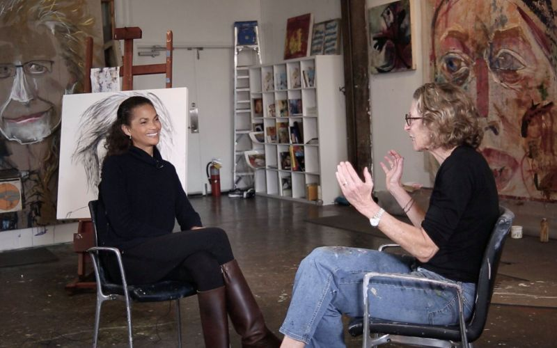 Gail O'Neill (left) interviews visual artist and psychologist Karen Schwartz. (credit: Felipe Barral / IGNI PRoductions)
