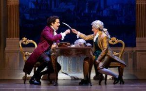 Luca Pisaroni as young Lorenzo Da Ponte and Rihab Chaieb as Mozart. (credit: Lynn Lane)