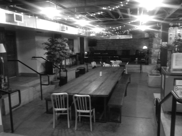 A large common area in the Nashville Downtown Hostel. (cell phone photo by the author)