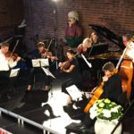 """A photo from Sunday's concert at the 2019 Kon-Tiki Chamber Music Festival, Gershwin's """"Rhapsody in Blue"""" arranged for piano solo (Elizabeth Pridgen) and string quintet. (credit: Ingrid Hillestad)"""
