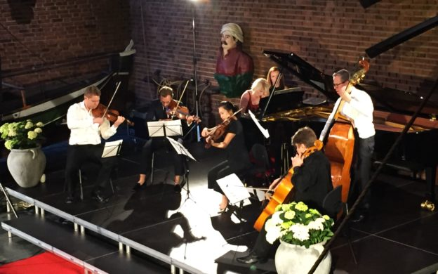 "A photo from Sunday's concert at the 2019 Kon-Tiki Chamber Music Festival, Gershwin's ""Rhapsody in Blue"" arranged for piano solo (Elizabeth Pridgen) and string quintet. (credit: Ingrid Hillestad)"