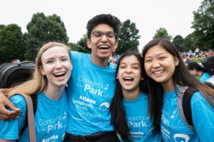 Members of the Atlanta Symphony Youth Orchestra sporting their Piedmont Park concert-specific t-shirts. (credit: Jeff Roffman)