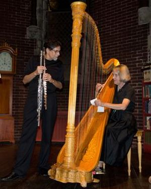 Flutist Peter Bloom & harpist Mary Jane Rupert, 2011. (source: elizabethvercoe.com)