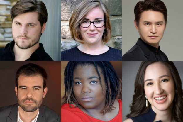 Top row, l-r: Jonathan Bryan, Ellen Jackson, Isaac Kim. Bottom row, l-r: Álvaro Corral Matute, Jouelle Roberson, Elizabeth Sarian. (photos courtesy of The Atlanta Opera.)