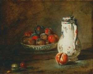 Jean-Baptiste Chardin: A Bowl of Plums. (1728) {This image is in the public domain]