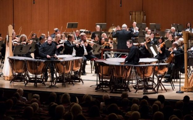 "The Yancich brothers solo with the Atlanta Symphony Orchestra performance of James Oliverio's ""DYNASTY: Double Timpani Concerto"" on May 9, 2019. Photography by Jeff Roffman."