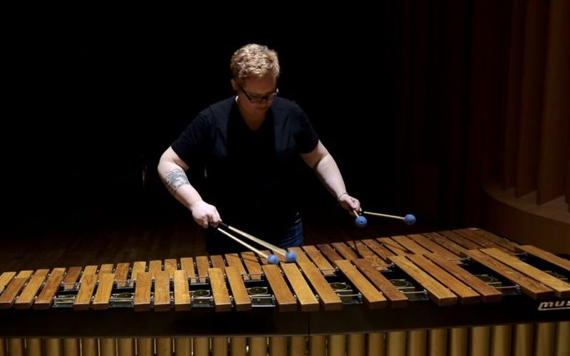 Olivia Kieffer performs on marimba at the 2018 Reinhardt Contemporary Arts Festival at Reinhardt University, where she used to teach, in Waleska, Georgia.