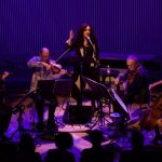Mahsa Vahdat (center) in a performance with Kronos Quartet. (credit: Evan Neff)