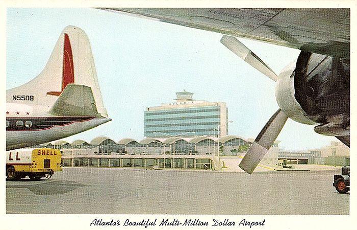 A 1961 postcard touts Atlanta's new international airport.