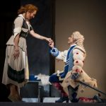 """If the shoe fits..."" Mezzo-soprano Emily Fons and tenor Santiago Ballerini in the Atlanta Opera's production of Rossini's ""La Cenerentola"" (""Cinderella"") (credit: Raftermen)"
