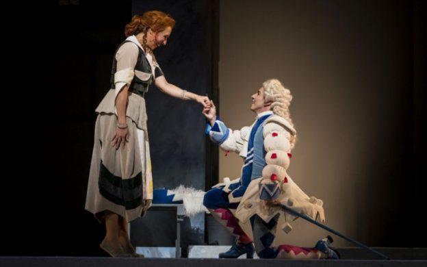 """If the shoe fits..."" Mezzo-soprano Emily Fons and tenor Santiago Ballerini in the Atlanta Opera's production of Rossini's ""La Cenerentola"" (""Cinderella"") (credit: Raftermen)"