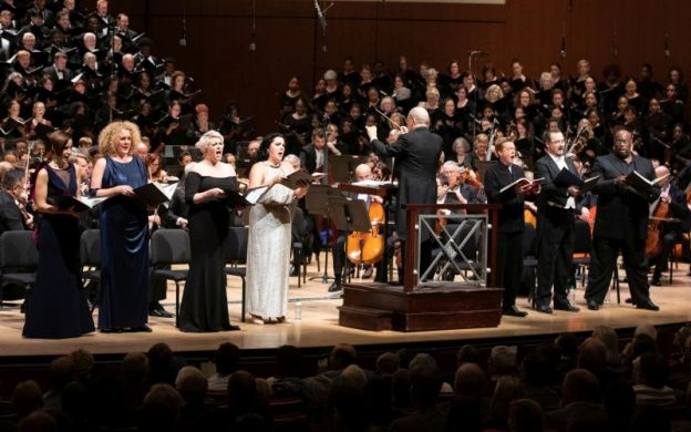 l-r: mezzo-sopranos Kelley O'Connor and Michelle DeYoung, sopranos Erin Wall and Evelina Dobračeva, conductor Robert Spano, tenor Toby Spence, baritone Russell Braun and bass Morris Robinson. (credit: Jeff Roffman)