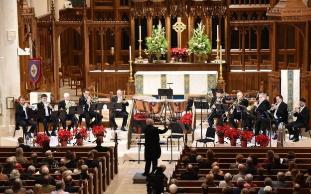 Atlanta Symphny Orchestra Brass plays festive holiday music at the Cathedral of St. Philip.