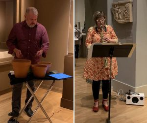 """L: Percussionist Stuart Gerber performs """" to the earth"""" by Frederic Rzewski. R: Saxophonist Jan Berry Baker performs """"Penelope's Song"""" by Judith Shatin. (credit: Adam Mirza)"""