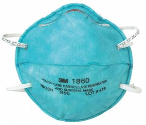 A 3M 1860 healthcare and particulate respirator and surgical mask rated N95. The masks made by The Atlanta Opera costume shop are intended to be worn over these. (image: 3M Corporation)