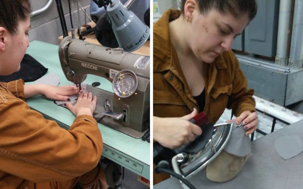 Lauren Allmeyer , The Atlanta Opera's assistant costume shop manager and wardrobe supervisor, sews a medical mask (left) then shapes it (photo courtesy of The Atlanta Opera)