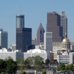 Downtown Atlanta, viewed from he south, in which city and state government buildings an be seen. (credit: Paul Brennan)