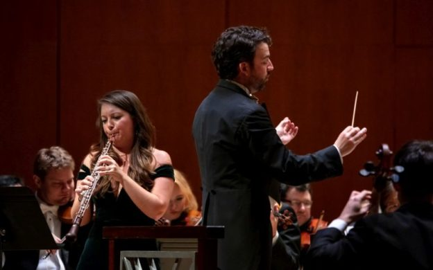 "ASO principal oboist Elizabeth Koch Tiscione and guest conductor James Gaffigan in a performance of Ralph Vaughan Williams' ""Concerto for Oboe and String Orchestra""by the Atlanta Symphony Orchestra this past January. The program will be will be broadcast on WABE-FM this Sunday, May 3. (credit: Nunnally Rawson)"