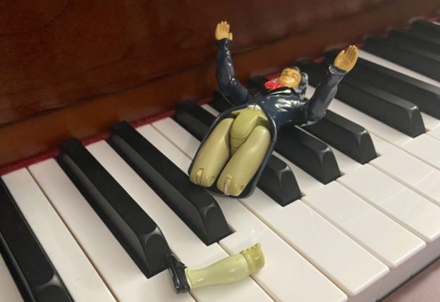 This Beethoven action figure is left without a leg to stand on, thanks to an overenthusiastic young fan. (photo: Benjamin K. Wadsworth)