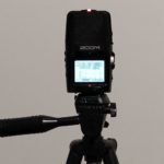 Digital DIY: A Zoom H2n portable audio recorder atop a Targus tripod. (photo: Mark Gresham)