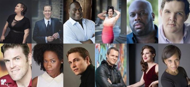 Top row: Jamie Barton, Kevin Burdette, Reginald Smith, Daniela Mack, Morris Robinson, Trey Smagur; Bottom row: Michael Mayes, Jasmine Habersham; Alek Shrader, Ryan McKinny, Megan Marino, Talise Trevigne. (Courtesy of The Atlanta Opera.)