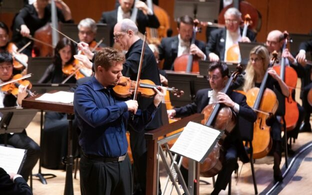 Sunday on 90.1 WABE-FM: David Coucheron solos in Beethoven's Violin Concerto with Robert Spano and the Atlanta Symphony Orchestra. (credit: Jeff Roffman)