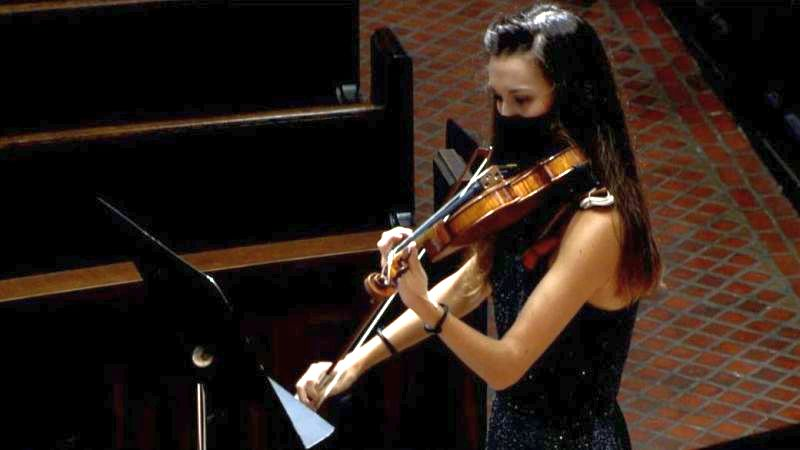 Violinist Margeaux Maloney (video frame capture)