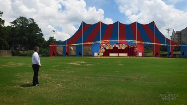 """Artist's rendering of """"The Big Tent"""" in which the Atlanta Opera will perform this fall. (video capture, Felipe Barral/TAO)"""