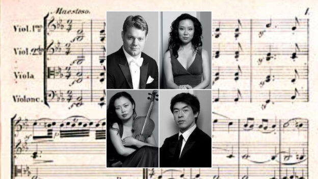 David Coucheron, Yinzi Kong, Jessica Shuang Wu and Guang Wang livestram two of Beethjoven's string quartets this Saturday from the Schwartz Center. Background opening of Beethoven's String Quartet No. 12, Op. 127, first edition (Schott, 1827).