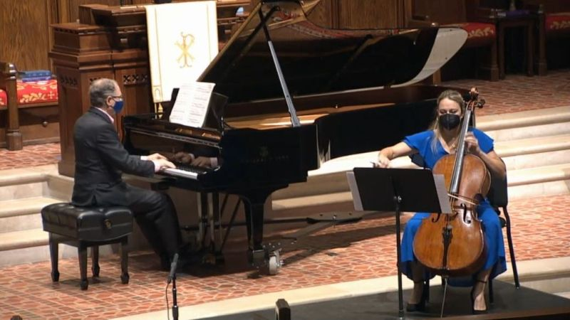 Pianist William Ransom and cellist Charae Krueger. (video frame capture)