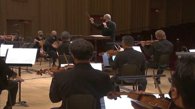 "Robert Spano leads the ASO in Tchaikovsky's ""Serenade for Strings."" (source: video frame capture / ASO)"