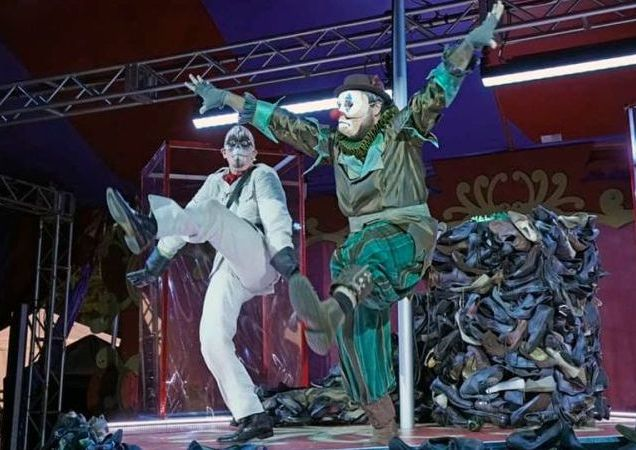 Death (Burdette) and Harlequin (Schrader) do a kickdance. (credit: Ken Howard)