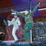 "Death and Harlequin (Kevin Burdette and Alek Shrader) do a kickdance in rehearsal for ""The Kaiser of Atlantis."" (credit: Ken Howard / The Atlanta Opera)"